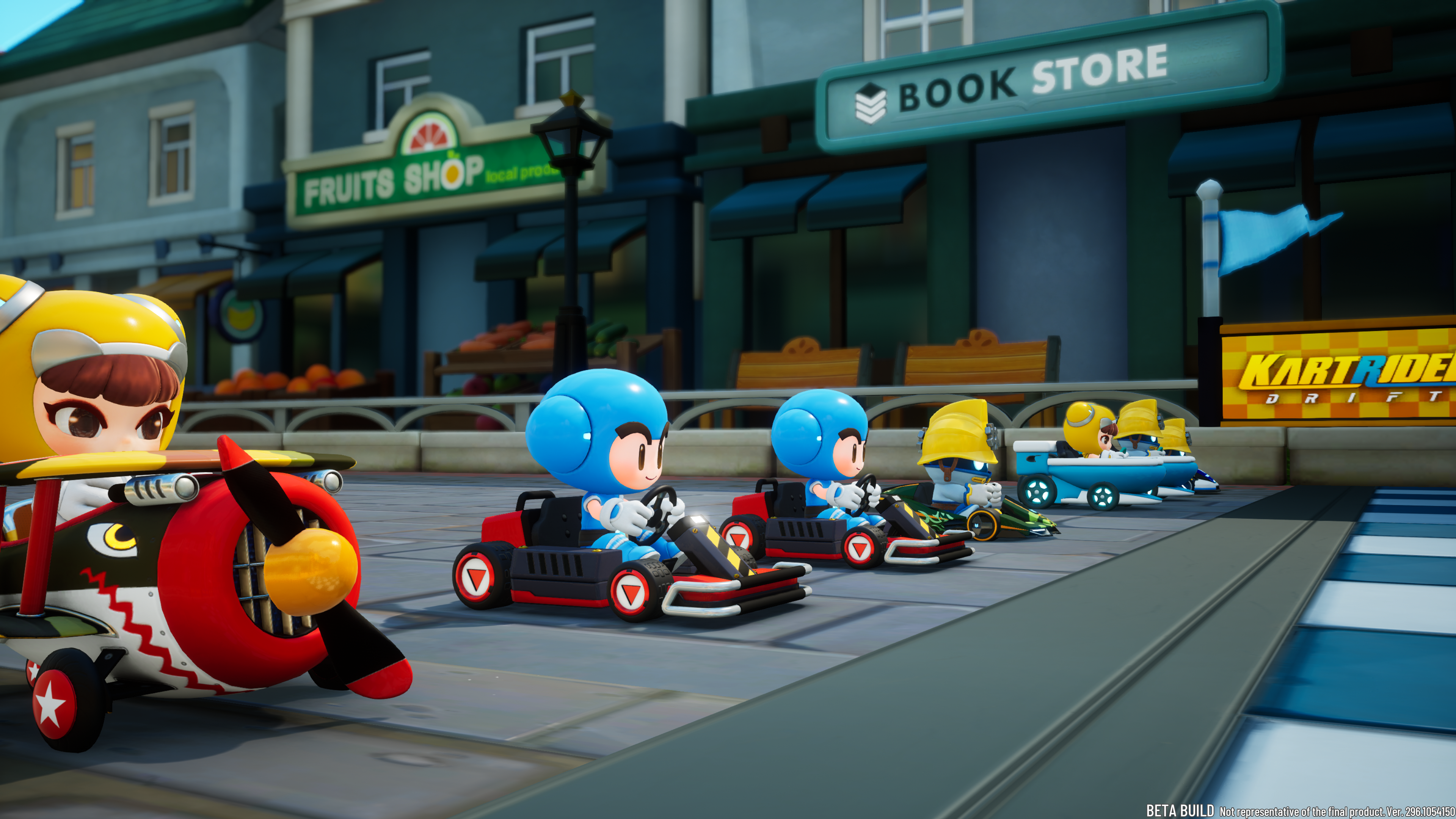 a number of karts line up for the race in KartRider: Drift